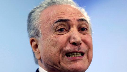 Brazil's President Michel Temer speaks at Planalto Palace in Brasilia
